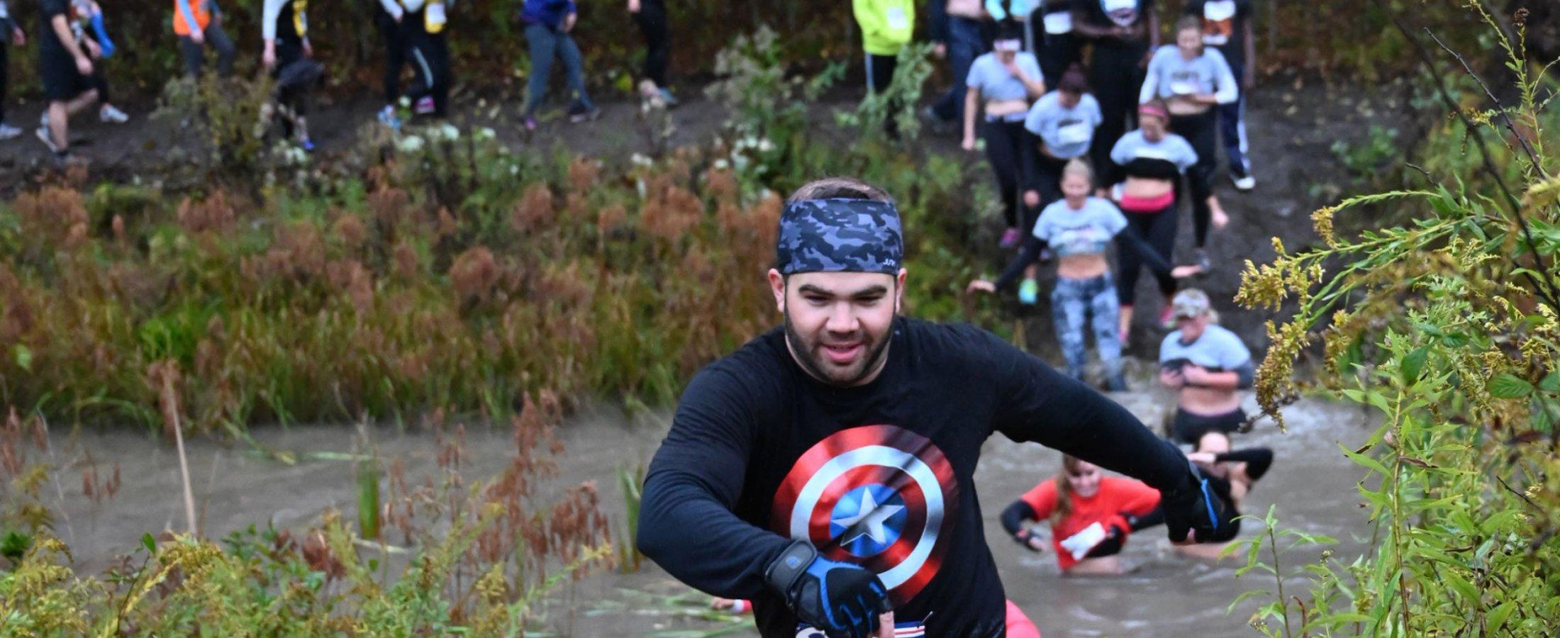 participates from mud run event